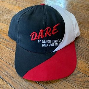 VTG D.A.R.E. Colorblock Snapback Hat Red/Black 90s